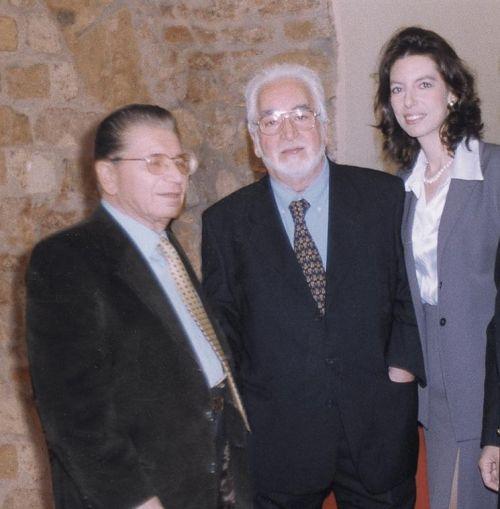 Pino Giacopelli, Jose Guevara e Laura Romano all'inaugurazione della Personale