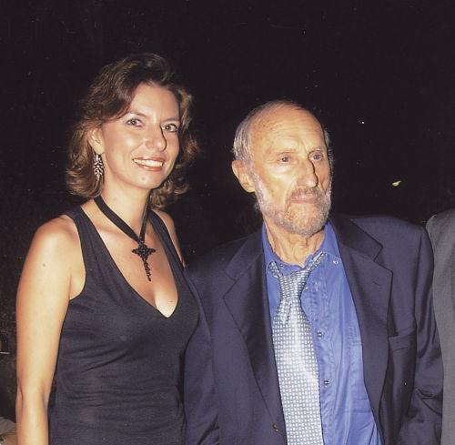 """Laura Romano e Ugo Attardi all'inaugurazione della Personale """"Impervie Dimore Opere 1967-2003"""", Palazzo dei Normanni, Palermo, 4 ottobre 2003"""