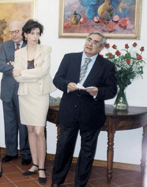 Laura Romano e Dino Ales durante la mostra inaugurale per l'apertura della Galleria Elle Arte, 24 maggio 1998
