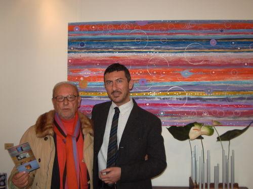 """Piero longo e Maurizio Priolo all'inaugurazione della Personale di Maurizio Priolo """"7x7 quarantanove"""" , Galleria elle Arte, 27 novembre 2009"""