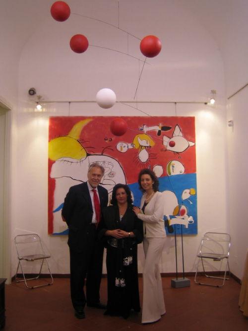 """Paul Eubel, Mapanati e Laura Romano all'inaugurazione della Personale """"Mapanati"""", 16 marzo 2005"""