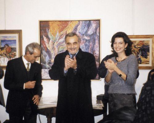 Saverio Terruso, Francesco Musotto e Laura Romano all'inaugurazione della personale di Saverio Terruso, 21 novembre 1998
