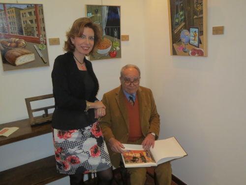 """Laura Romano e Sergio Ceccotti all'inaugurazione della personale di Ceccotti """"Lumiéres. Dolci malinconie"""", Galleria Elle Arte, 15 febbraio 2014."""