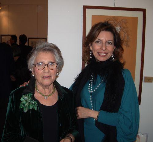 """Liliana Conti Cammarata e Laura Romano all'inaugurazione della personale """"Nel segno della Palma"""", Galleria Elle Arte, 5 marzo 2010"""