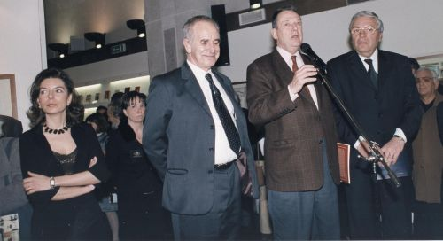Laura Romano, Bruno Caruso, Gioacchino Lanza Tomasi e Andrea Zangara all'inaugurazione della Personale di Caruso , Palazzo dei Normanni, 3 marzo 2001