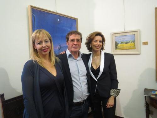Elisa Mandarà, Franco Polizzi e Laura Romano all'inaugurazione della Personale di Polizzi